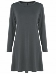 Long Sleeve Plain Swing Dress - DEEP GRAY