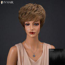 Siv Hair Short Fluffy Neat Bang Bouffant Straight Real Natural Hair Wig