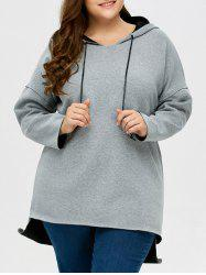 Plus Size High Low Pullover Hoodie -