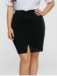 Front Slit Plus Size High Waisted Skirt - BLACK