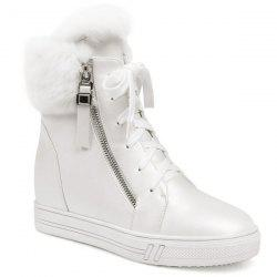 Faux Fur Panel Hidden Wedge Short Boots -