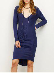 High-Low Ruched Plunging Neck Pencil Dress -