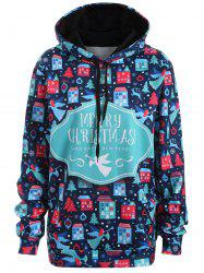 Plus Size Merry Christmas Kangaroo Pocket Patterned Hoodies - DEEP BLUE 3XL