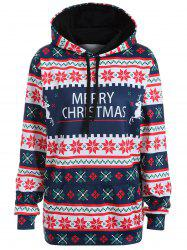 Plus Size Merry Christmas Snowflake Patterned Hoodies - PURPLISH BLUE