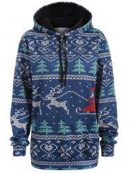 Plus Size Christmas Drawstring Kangaroo Pocket Patterned Hoodies - NAVY BLUE