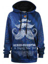 Plus Size Merry Christmas Mustache Hoodie - BLUE