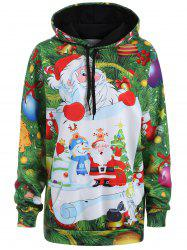 Plus Size Santa Claus Christmas Drawstring Patterned Hoodies - GRASS GREEN
