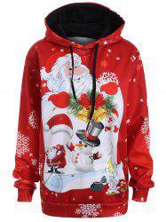 Plus Size Snowman Kangaroo Pocket Christmas Patterned Hoodies - RED
