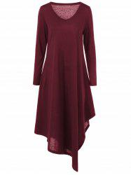 Asymmetrical V Neck Long Sleeved Maxi Casual Dress