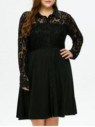 Plus Size Semi Sheer Lace Insert Shirt Dress