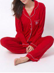 Letter Print Lapel Long Sleeve Sleepwear Sets - RED