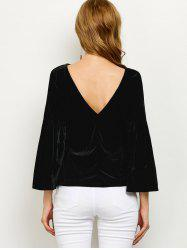 V Back Flare Sleeve Velvet T Shirt