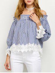 Off Shoulder Lace Panel Striped Blouse