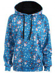 Plus Size Santa Claus Kangaroo Pocket Patterned Hoodies - LAKE BLUE