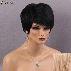 Siv Hair Short Fluffy Side Bang Straight Real Natural Hair Wig