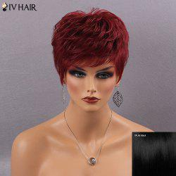 Siv Hair Short Fluffy Full Bang Straight Real Natural Hair Wig