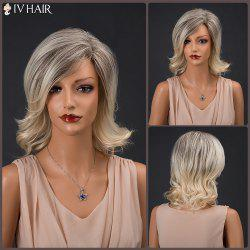Siv Hair Short Color Mixed Side Bang Wavy Real Natural Hair Wig