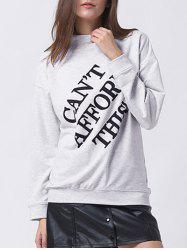 Letter Print Mock Neck Sweatshirt