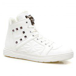 Flocking Metal Rivet High Top Shoes