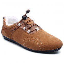 Elastic Band Flocking Suede Casual Shoes - BROWN