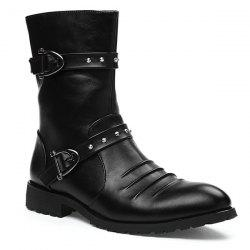 Ruched Buckle Straps Mid Calf Boots -