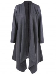 Asymmetrical PU Leather Sleeve Coat - GRAY
