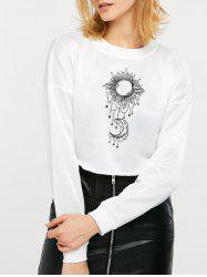 Sun and Moon Print Cropped Sweatshirt -