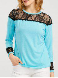 Long Sleeve T Shirt With Lace Trim -