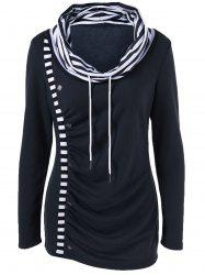 Cowl Neck Striped Trim Ruched T-Shirt