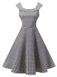 Plaid Knee Length Pin Up Dress