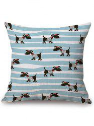 Dog Stripe Print Linen Office Chair Sofa Pillow Case - COLORMIX