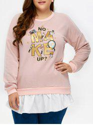 Plus Size Patchwork Graphic Sweatshirt