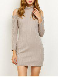 High Neck Cold Shoulder Fitted Sweater Dress