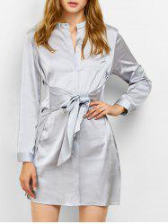 Stand Neck Tied Satin Shirt Dress