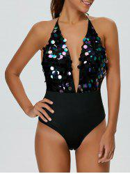 Backless Halter Sequins Low Cut Bodysuit - BLACK