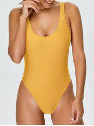 Backless High Cut One Piece Swimwear - YELLOW