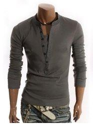 Long Sleeve Half Button Embellished T-Shirt - DEEP GRAY