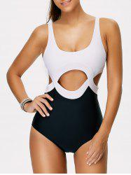 Color Block One Piece Cut Out Swimsuit