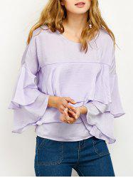 Jewel Neck Ruffles Layered Top