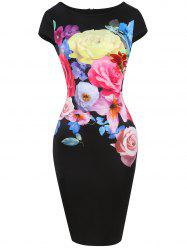 Floral Print Bodycon Knee Length Dress -