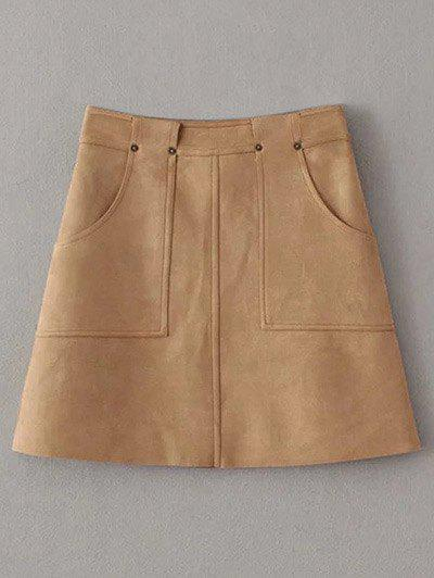Hot Front Pockets Suede A Line Skirt
