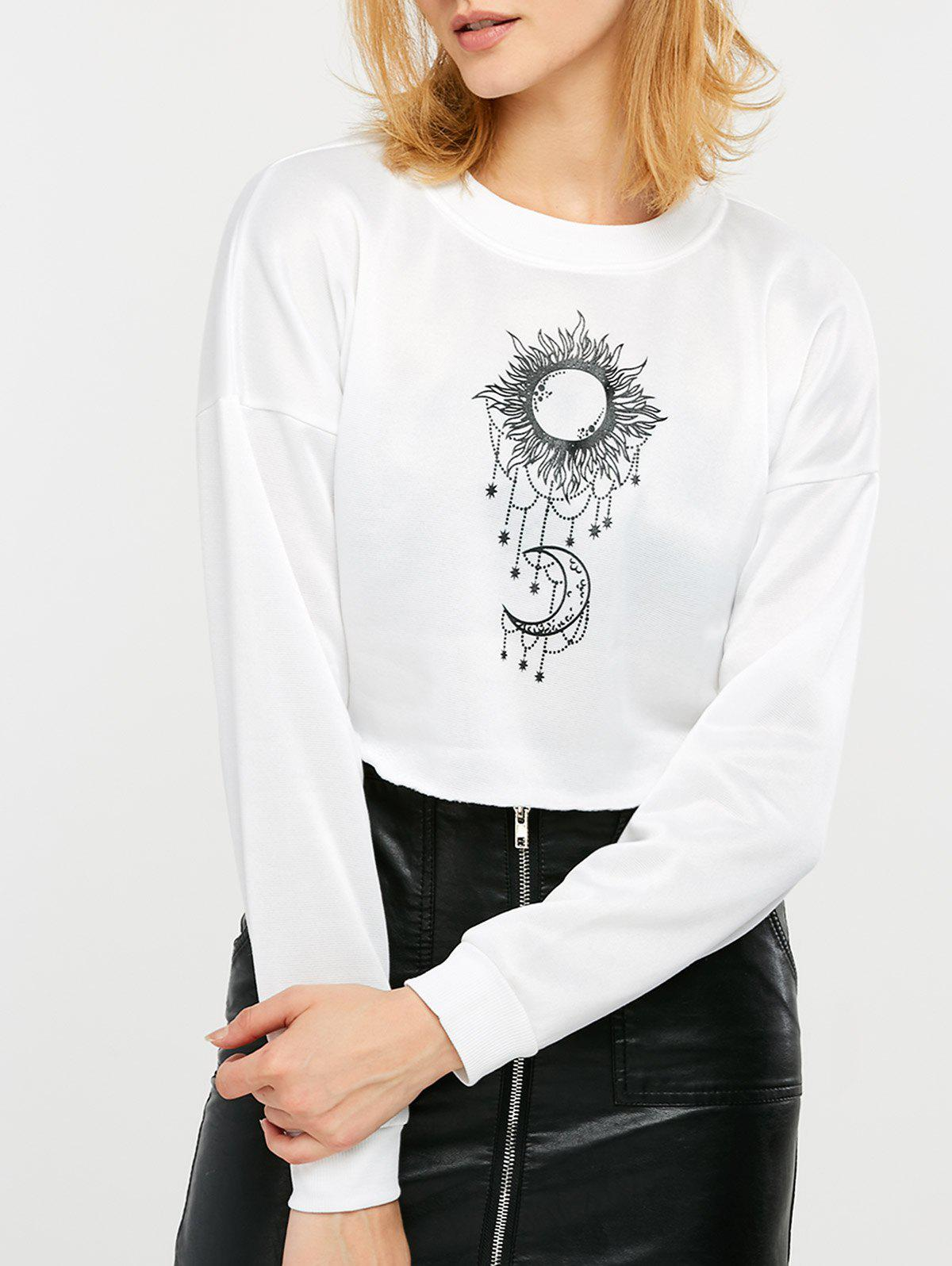 Chic Sun and Moon Print Cropped Sweatshirt