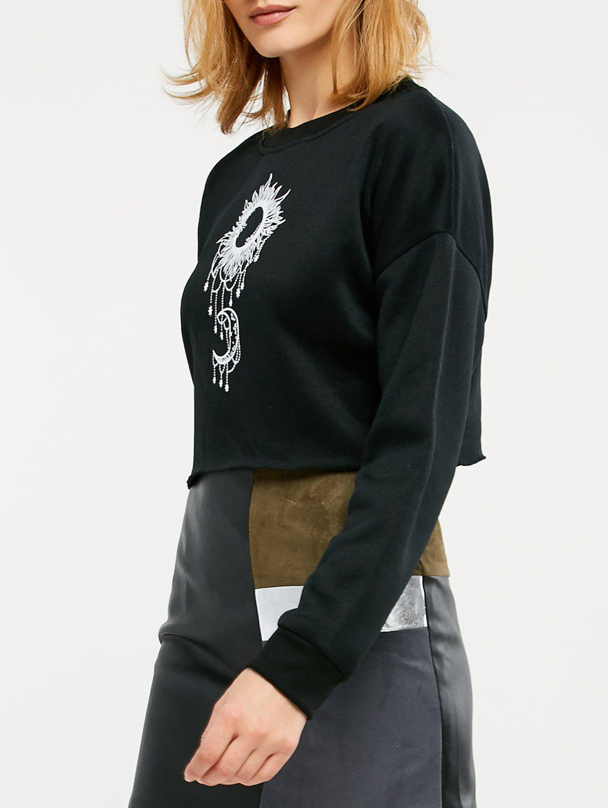 Trendy Sun and Moon Print Cropped Sweatshirt