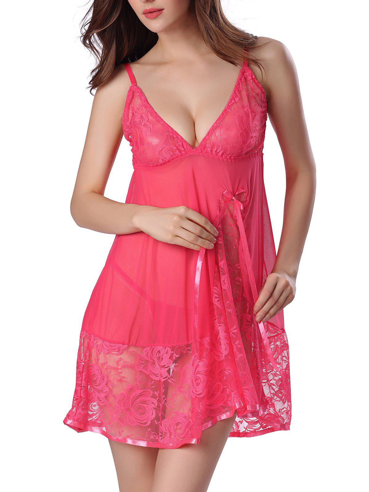 Sheer Floral Lace Panel Mesh Babydoll SleepwearWOMEN<br><br>Size: XL; Color: WATERMELON RED; Material: Nylon; Fabric Type: Voile; Pattern Type: Floral; Embellishment: Bowknot,Lace,Spliced; Weight: 0.220kg; Package Contents: 1 x Babydoll  1 x T-Back;