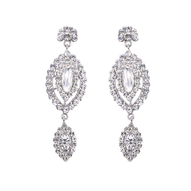 Rhinestoned Geometric EarringsJEWELRY<br><br>Color: SILVER; Earring Type: Drop Earrings; Gender: For Women; Style: Noble and Elegant; Shape/Pattern: Geometric; Length: 8CM; Weight: 0.040kg; Package Contents: 1 x Earring (Pair);