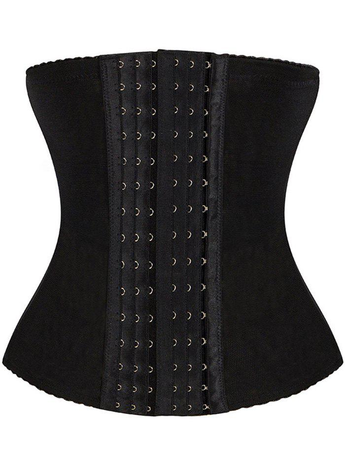 Breathable Hook Waist TrainerWOMEN<br><br>Size: 2XL; Color: BLACK; Material: Polyester; Pattern Type: Solid; Embellishment: None; Weight: 0.470kg; Package Contents: 1 x Corset;