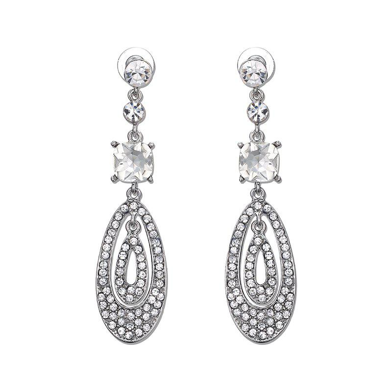 Rhinestone Oval Teardrop EarringsJEWELRY<br><br>Color: SILVER; Earring Type: Drop Earrings; Gender: For Women; Style: Noble and Elegant; Shape/Pattern: Water Drop; Length: 9.8CM; Weight: 0.050kg; Package Contents: 1 x Earring (Pair);
