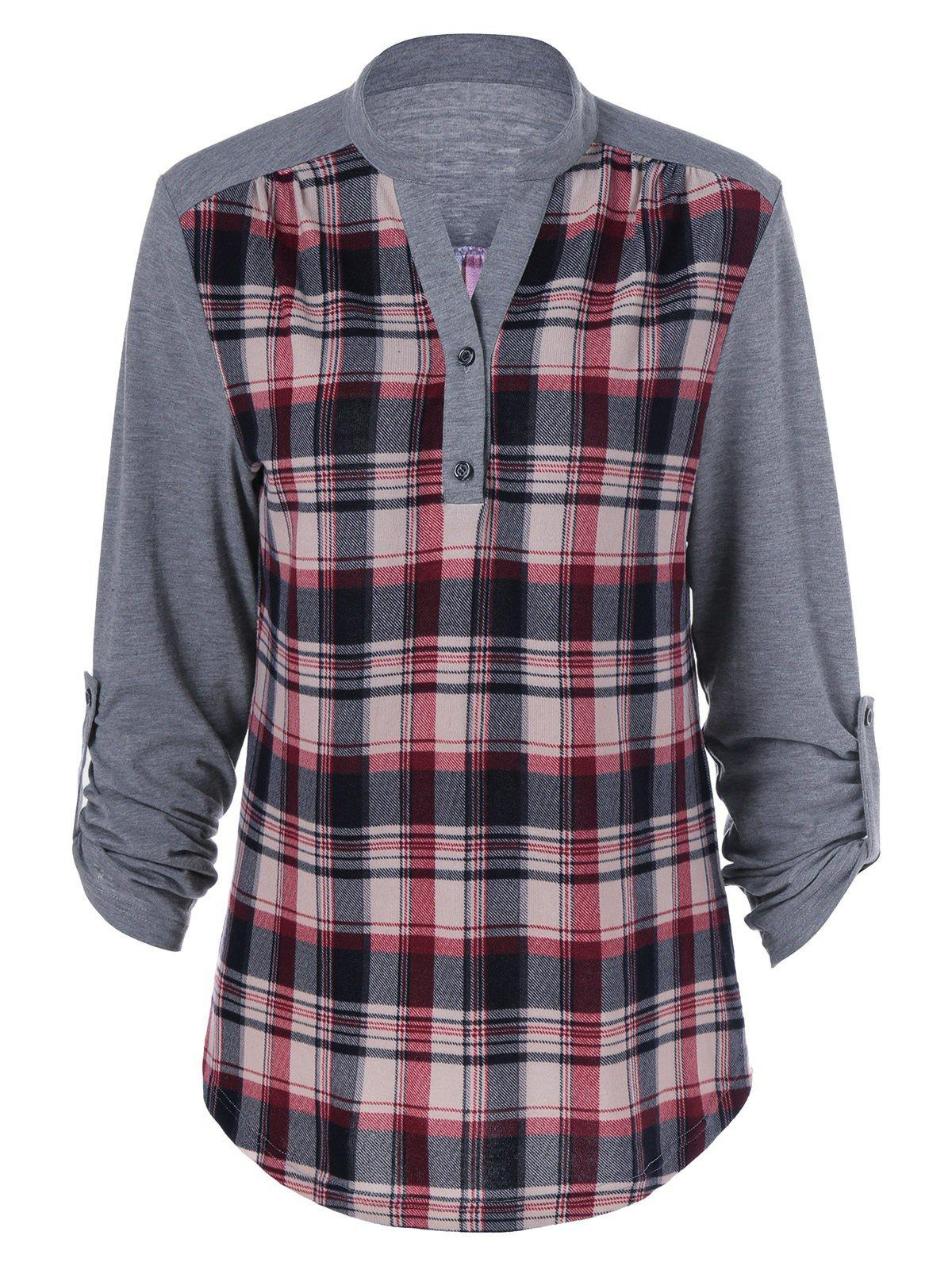 Plus Size Split-Neck Plaid Trim BlouseWOMEN<br><br>Size: 5XL; Color: GRAY; Material: Polyester; Shirt Length: Long; Sleeve Length: Full; Collar: V-Neck; Style: Streetwear; Season: Fall,Spring; Pattern Type: Plaid; Weight: 0.3700kg; Package Contents: 1 x Blouse;
