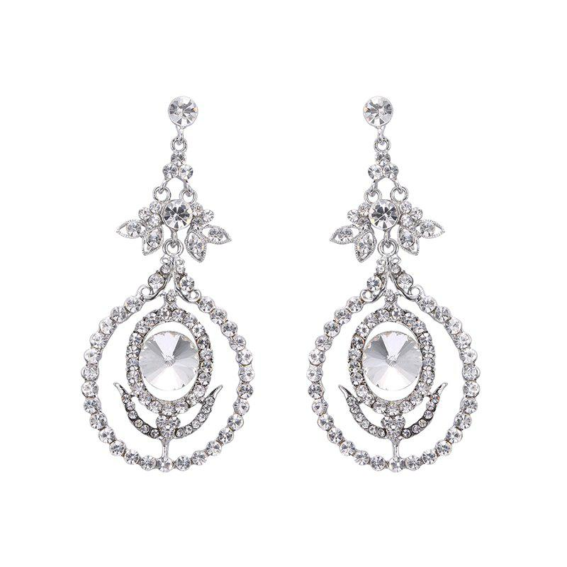Rhinestone Leaf Flower EarringsJEWELRY<br><br>Color: SILVER; Earring Type: Drop Earrings; Gender: For Women; Style: Noble and Elegant; Shape/Pattern: Floral; Length: 9CM; Weight: 0.050kg; Package Contents: 1 x Earring (Pair);