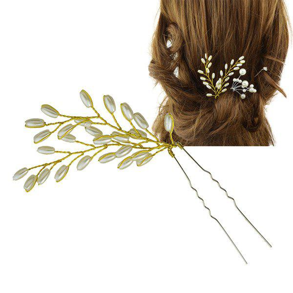 Wheatear Faux Pearl HairpinACCESSORIES<br><br>Color: GOLDEN; Headwear Type: Hairpins; Group: Adult; Gender: For Women; Style: Fashion; Pattern Type: Plant; Weight: 0.040kg; Package Contents: 1 x Hairpin;